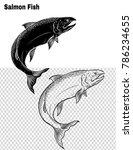 salmon art highly detailed in...   Shutterstock .eps vector #786234655