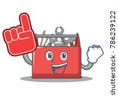 with foam finger tool box... | Shutterstock .eps vector #786239122