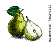whole and piece of green pear... | Shutterstock .eps vector #786241132