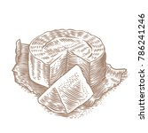 disk and piece of camembert on... | Shutterstock .eps vector #786241246