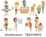 young woman making different... | Shutterstock .eps vector #786243892