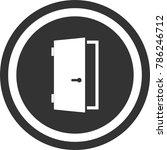 door icon   dark circle sign...