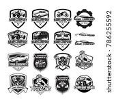 set automotive badge emblem... | Shutterstock .eps vector #786255592