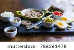 herring and chopped ingredients ... | Shutterstock . vector #786261478