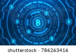 bitcoins with hud elements ...   Shutterstock . vector #786263416