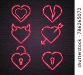 bright heart set. neon sign.... | Shutterstock .eps vector #786265072