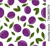 pattern with plums and leaves... | Shutterstock .eps vector #786280576