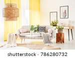 bright yellow curtains hanging...   Shutterstock . vector #786280732
