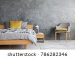 grey chair and lamp on wooden... | Shutterstock . vector #786282346