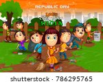 happy republic day of india... | Shutterstock .eps vector #786295765