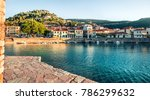 Colorful spring view of the Nafpaktos port. Fantastic morning scene of the Gulf of Corinth, Greece, Europe. Beauty of countryside concept background. Beauty of countryside concept background.