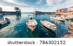 sunny spring panorama of... | Shutterstock . vector #786302152