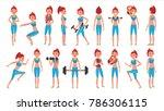 fitness girl vector. different... | Shutterstock .eps vector #786306115