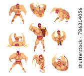 set of professional muscular... | Shutterstock .eps vector #786314056
