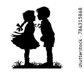 silhouette of kids kissing | Shutterstock .eps vector #786315868