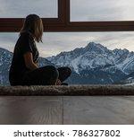 female model faces a mountain... | Shutterstock . vector #786327802