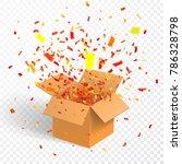 open box with confetti ... | Shutterstock .eps vector #786328798