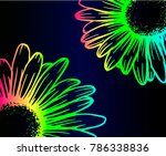 Set Of Bright Neon Daisies ...
