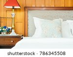 comfort pillow on bed with... | Shutterstock . vector #786345508