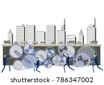 urban structure and gear clip... | Shutterstock .eps vector #786347002
