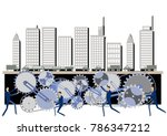 urban structure and gear clip... | Shutterstock .eps vector #786347212