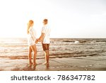 beach of summer time and two... | Shutterstock . vector #786347782