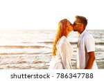 beach of summer time and two... | Shutterstock . vector #786347788