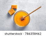 glass bowl with delicious honey ... | Shutterstock . vector #786358462
