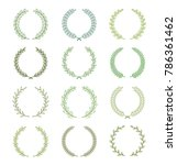 set of green silhouette... | Shutterstock .eps vector #786361462