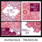 set of wedding cards with pink... | Shutterstock .eps vector #786363136