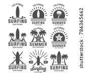beach badges  vintage surfing... | Shutterstock .eps vector #786365662