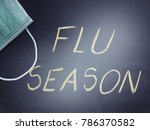 Small photo of Flu season with phrase Flu season written on it and a face mask, flu season concept