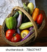 Basket with garden vegetables - stock photo