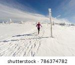 running woman on winter trail ... | Shutterstock . vector #786374782