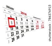 8 january highlighted on... | Shutterstock .eps vector #786376915