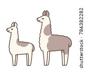 cute and simple llamas drawing  ... | Shutterstock .eps vector #786382282