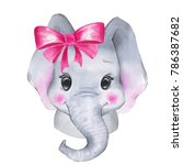 Stock photo watercolor elephant cute cartoon illustration isolated on white background 786387682