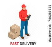 isomeric fast delivery concept. ... | Shutterstock .eps vector #786389836