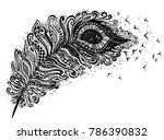 vector ink filigree feather and ... | Shutterstock .eps vector #786390832