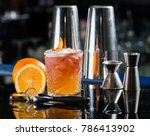 fresh cocktail with orange and... | Shutterstock . vector #786413902