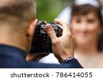 the photographer takes pictures ...   Shutterstock . vector #786414055
