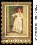 Small photo of USSR - circa 1981: Stamp printed by USSR, Color edition on Art, shows Painting Albanian girl in doorway by Ivanov, circa 1981