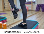fitness woman with step