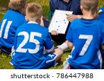 youth football team with coach... | Shutterstock . vector #786447988