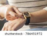 close up of a woman winding her ... | Shutterstock . vector #786451972