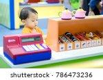 asian little cute boy play is... | Shutterstock . vector #786473236