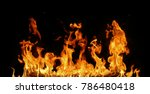 fire flames on black background. | Shutterstock . vector #786480418
