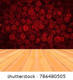 red rose flower background with ... | Shutterstock . vector #786480505