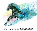 Stock photo watercolor illustration of horse hand drawn 786486208