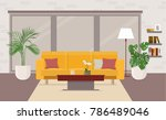 living room interior with... | Shutterstock .eps vector #786489046
